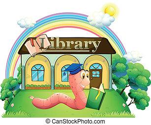 porter, lecture, casquette, remise de diplomes, ver, bibliothèque, devant