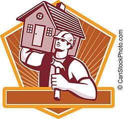 porter, maison, constructeur, charpentier, retro