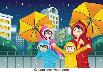 porter, marche, parapluie, famille, imperméables