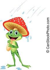porter, mignon, engrenage, grenouille, pluie, dessin animé