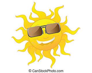 porter, mignon, lunettes soleil, dessin animé, soleil