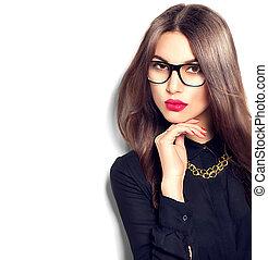porter, mode, beauté, lunettes, isolé, girl, fond, sexy, blanc, modèle