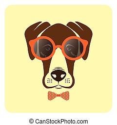 porter, mode, image, chien, glasses., vecteur