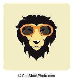 porter, mode, image, glasses., lion, vecteur