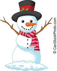 porter, noël, bonhomme de neige, dessin animé