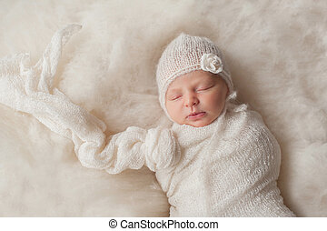 porter, nouveau né, tricoté, dorlotez fille, blanc, capot