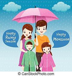 porter, parapluie, parent, imperméable, sous, ensemble, pluie, enfants