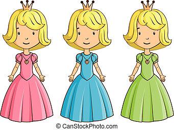 porter, peu, déguisement, girl, princesse