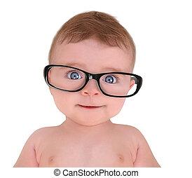 porter, peu, oeil, fond, bébé, blanc, lunettes
