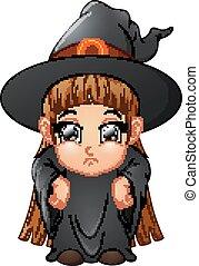 porter, peu, sorcière, déguisement, girl, dessin animé