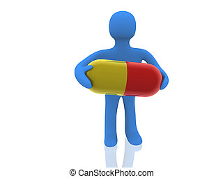 porter, pilule, figure, grand, 3d
