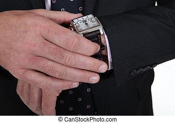 porter, poignet, mâle, montre