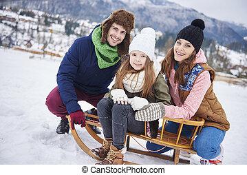 porter, portrait, hiver, famille, vêtements