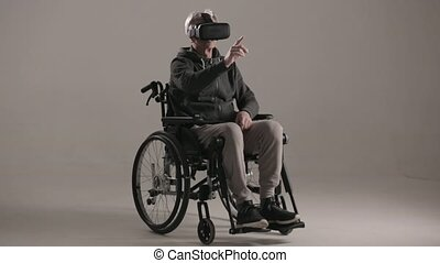 porter, réalité virtuelle, handicapé, lunettes, homme