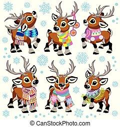 porter, renne, ensemble, écharpe