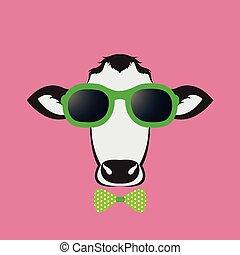 porter, rose, vache, arrière-plan., vecteur, images, lunettes