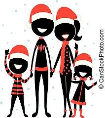porter, silhouette, figure, famille, crosse, icône, noël, déguisement