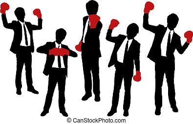 porter, silhouettes, gants boxe, hommes affaires