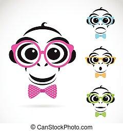 porter, singe, image, arrière-plan., vecteur, blanc, lunettes