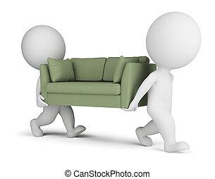 porter, sofa, petit, 3d, gens