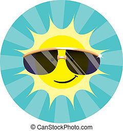 porter, soleil, lunettes soleil, frais
