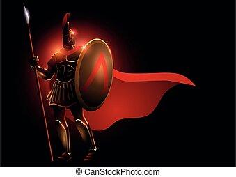 porter, spartan, casque, guerrier, manteau, rouges