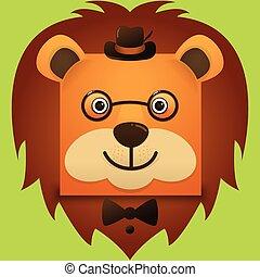 porter, style, carrée, image, figure, lion, vecteur, hipster, chapeau, lunettes