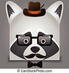 porter, style, carrée, image, figure, vecteur, hipster, raton laveur, chapeau, lunettes