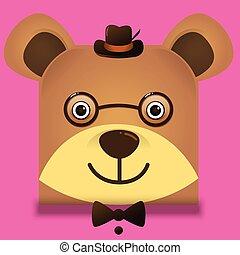 porter, style, carrée, teddy, image, ours, vecteur, hipster, chapeau, lunettes