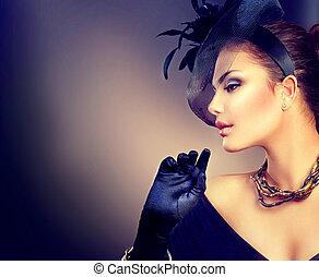 porter, style, femme, vendange, retro, portrait, girl, chapeau, gloves.