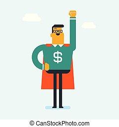 porter, superhero, signe., dollar, complet, homme