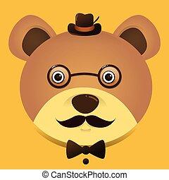 porter, teddy, image, ours, vecteur, hipster, chapeau, lunettes