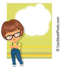 porter, texte, cadre, glasses., écolière, intelligent