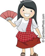 porter, traditionnel, girl, philippine, déguisement