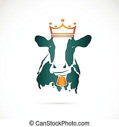 porter, vache, image, couronne, vecteur, fond, blanc