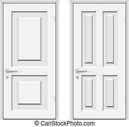portes, isolé, vecteur, fond, blanc, illustration.