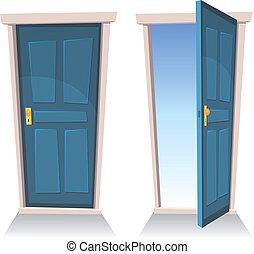 portes, ouvert, fermé