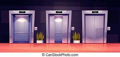 portes, portes, ascenseur, ouvert, dessin animé, fermé, ascenseur