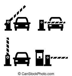 portes, vecteur, voiture, barrière, ensemble, icône, sécurité