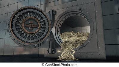portes, voûte, banque, open., 3d