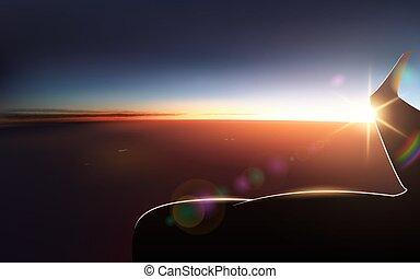 porthole., vue, vecteur, fenêtre avion