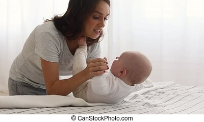 portion, asseoir, mère, enfant