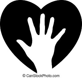 portion, coeur, main