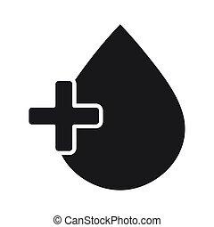 portion, donation, volontaire, style, monde médical, sanguine, charité, silhouette, social, icône