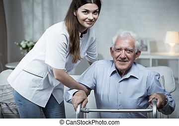 portion, handicapé, infirmière, homme aîné