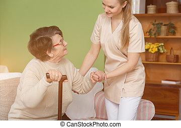 portion, infirmière, dame, plus vieux