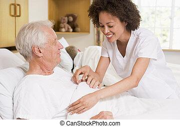 portion, infirmière, homme aîné