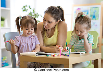 portion, jardin enfants, prof, artclass, enfants