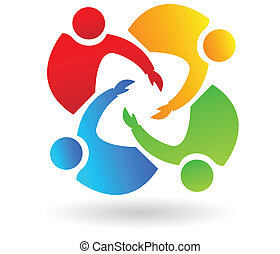 portion, logo, collaboration, 4 personnes