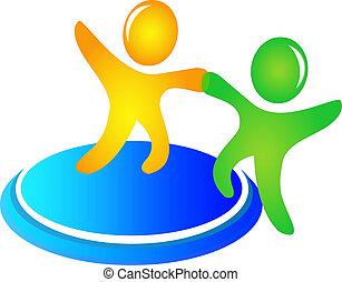 portion, logo, vecteur, collaboration